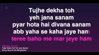 Tujhe Dekha Toh Yeh Jana Sanam (Karaoke) - YouTube