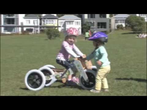 """Vorschau: Laufrad Dreirad Holz grau """"3in1"""" mitwachsend ab 12 Monaten"""