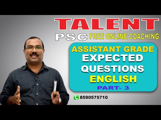 PSC | Assistant Grade Special | EXPECTED QUESTIONS- English Part 3