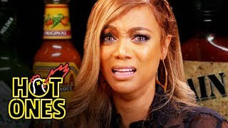 Hot Ones - Tyra Banks Cries For Her Mom While Eating Spicy Wings