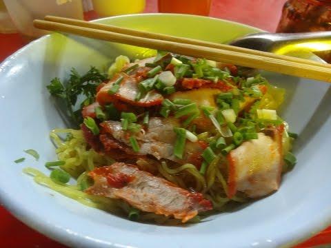 บะหมี่เกี๊ยวหมูแดงแห้ง Phon phisia street food