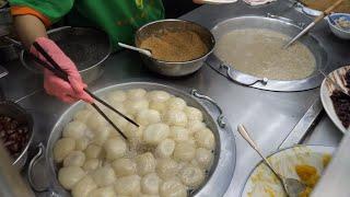 Taiwanese Street Food - Boiled Mochi(Glutinous Rice Ball), Glutinous Rice and Longan Congee