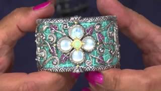 Barbara Bixby Sterling & 18K Multi-Gemstone Castle Cuff Bracelet -Large with Antonella Nester