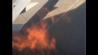Utair Boeing 737 engine catches fire on runway just before takeoff  HD 