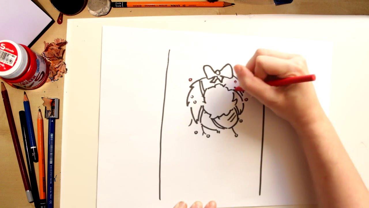 Como desenhar uma Guirlanda de Natal - desenhos de Natal para crianças