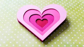 How to Make - 3D Greeting Card Valentine's Day Heart - Step by Step DIY | Kartka Walentynkowa