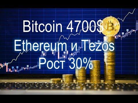 Bitcoin 4700$ ???  Ethereum и Tezos Рост 30%