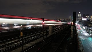 NYC Subway 7 Train At Night