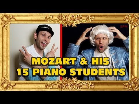 Mozart is teaching the piano to different types of students
