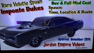 """GTA 5 : Rare Vehicle Spawn """"Imponte Dukes"""" Spawn Location Times and Route With Full Mod & Buy Cost"""