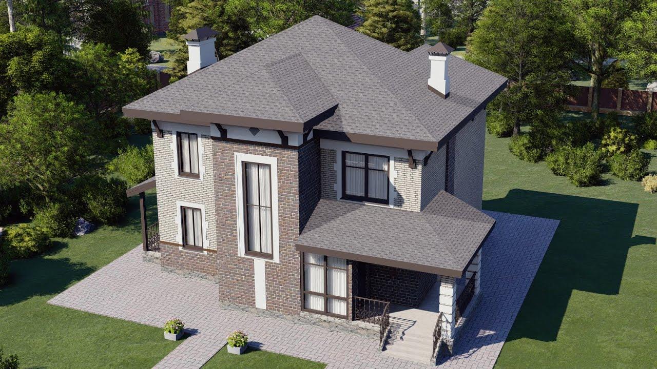 Двухэтажный проект дома с крытой террасой