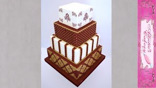 Short Video Of Maroon And Gold Summer Wedding Cake