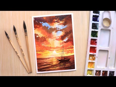 watercolor painting a beautiful sunset tutorial