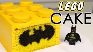 LEGO BATMAN CAKE With Chocolate Bat Symbol INSIDE!