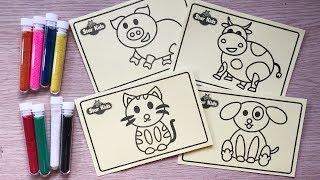ĐỒ CHƠI TÔ MÀU TRANH CÁT ĐỘNG VẬT, 10 ỐNG CÁT MÀU & 4 BỨC TRANH CÁT - Sand painting toys chim xinh
