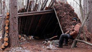 OUTDOOR SHELTER BUILD - Bushcraft, Warm Survival Shelter, Pork Cook Over Fire, Shelter Fire Pit, etc