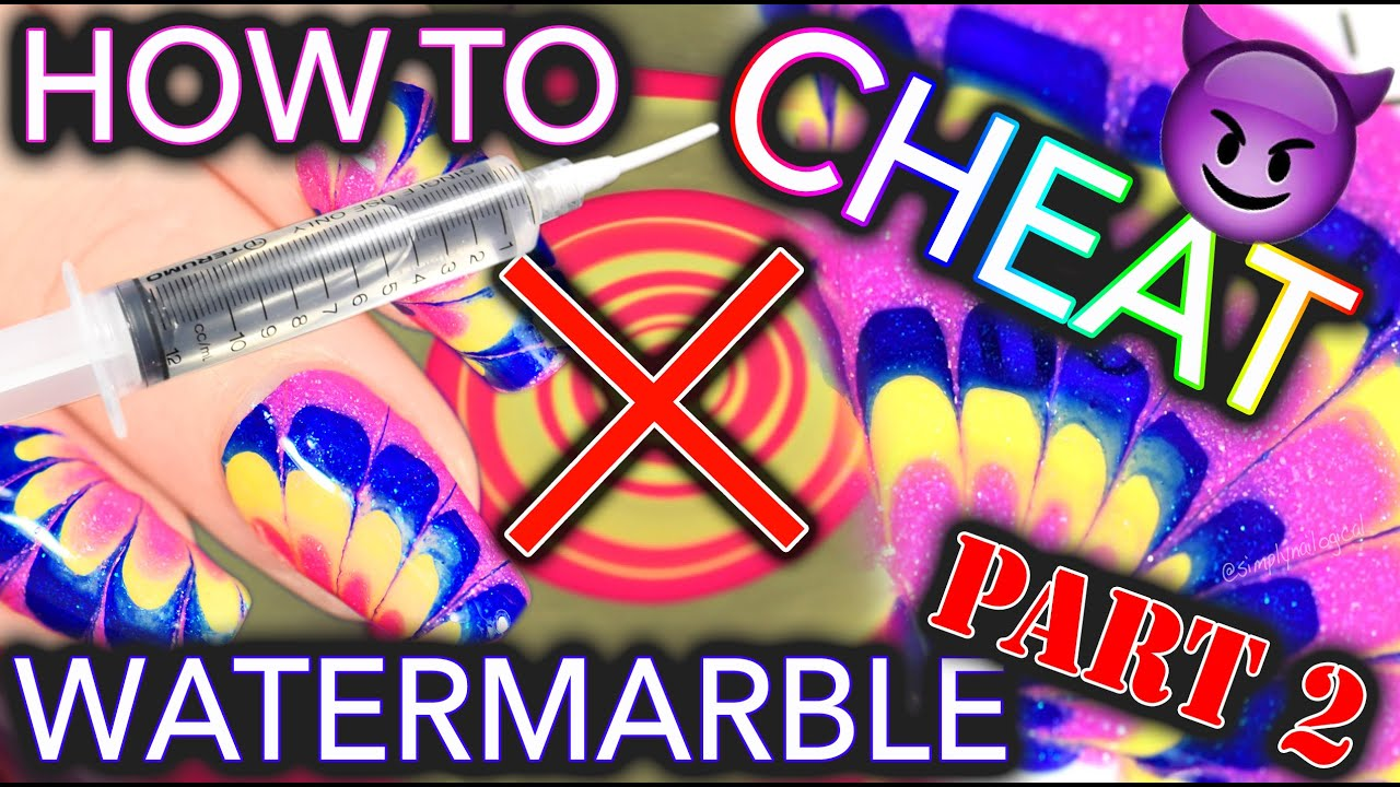 How to CHEAT at Watermarble nails - PART #2 thumbnail