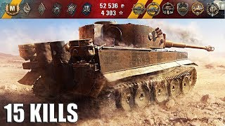 15 фрагов за бой world of tanks 🌟🌟🌟 Tiger 131 лучший бой wot