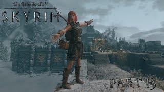 Skyrim - The Elder Scrolls 5: Едем в Виндхельм, ночное шкуродерство у костра - летсплей (часть13)