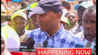 Rescue teams searching for missing people after a seven storey building collapsed in Embakasi