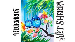 Easy Acrylic Painting Happy Blue Bird Mama And Baby With Flowers #playlive #derpsquad | TheArtSherpa