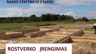 ROSTVERKAS - pamatų įrengimas, 4 ETAPAS.pagrindo paruošimas pamatams, armatūra, skydai