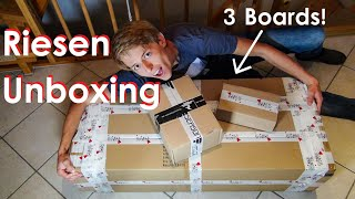 Wahnsinns UNBOXING! Riesen Paket mit 3 LONGBOARDS, vielen Rollen und mehr! | Longboarding Germany