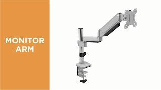 Premium Single Monitor Aluminum Gas Spring Pole Mounted Monitor Arm-LDT26-C012P