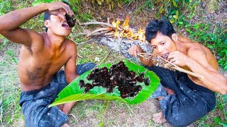 Find dung beetle on tree and crabs in water - grilled dung beetle Insect eating delicious