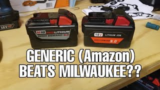 Milwaukee M18 9.0ah Battery vs. Generic 18v 9.0ah Battery (Amazon)