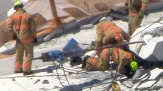 Car are trapped and first responders are trying to rescue people after a pedestrian bridge collapsed Thursday at the FIU campus. It had just opened over the weekend. Witness Isabella Carrasco describes the scene to CBSN's Reena Ninan.
