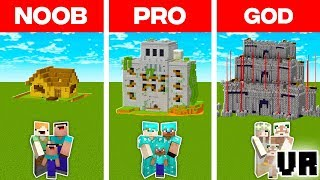 Minecraft NOOB vs. PRO vs. GOD: VR FAMILY ZOMBIE DEFENCE BUILD CHALLENGE in Minecraft (Animation)