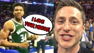 GIANNIS TOLD ME HE LOVES MY YOUTUBE CHANNEL!! BEST NBA FAN MOMENT
