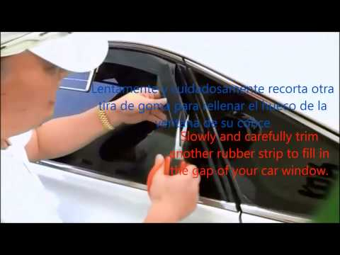 Cómo recorta tiras de goma de Kulcar para caber en la ventana curvada del coche