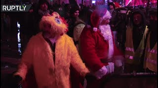 Yellow Vests protest continues into the night, 'Santa Claus' joins in