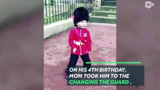 Queen's guards break formation for little boy