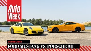 Ford Mustang GT vs. Porsche 911 Carrera T - AutoWeek Dubbeltest - English subtitles