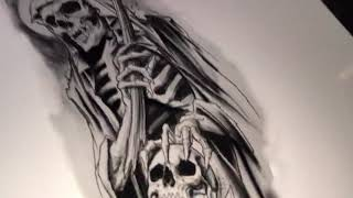 La Muerte / Grim Reaper Tattoo Time Lapse   TATTOOS BY HER