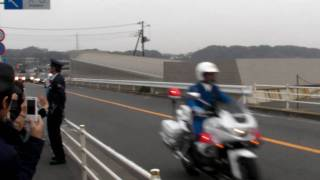 preview picture of video 'president Obama's motorcade visiting Kamakura オバマ大統領の車列'