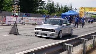 900HP BMW E30 325i M-Tech2 Widebody Turbo 1/8mile drag race