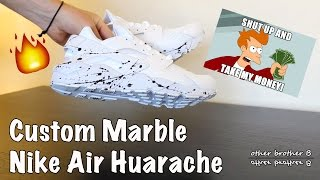 485ce3bb49f550 ... buy custom nike air huarache triple white marble paint splash 6bcf9  4c458 ...