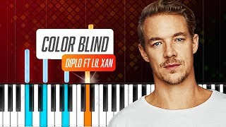 """Diplo - """"Color Blind"""" ft Lil Xan Piano Tutorial - Chords - How To Play - Cover"""