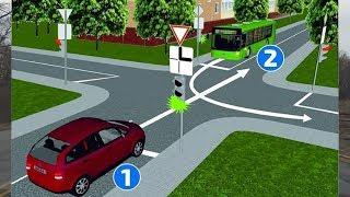 Кто проедет перекрёсток первым? 1 или 2