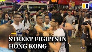 Street fights in Hong Kong