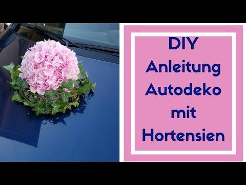 Auto Dekoration für Hochzeit selber machen -  Hortensienkugel mit Saugnapf kreieren - Auto schmuck