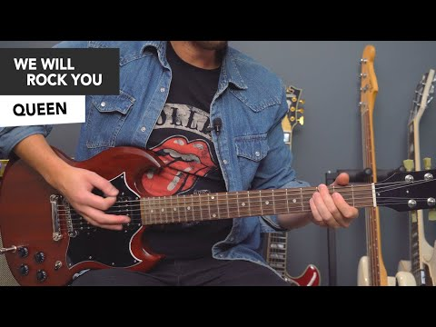 """Queen """"We Will Rock You"""" SOLO Guitar Lesson Tutorial - how to play"""