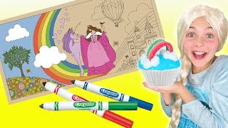 Lullubee GIANT Coloring Mural | How To Make Rainbow Cloud Cupcakes | Princess Chef Ava Kids Cooking