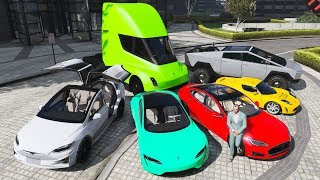 GTA 5 - Stealing Luxury Tesla Cars With Trevor! (Real Life Cars #12)