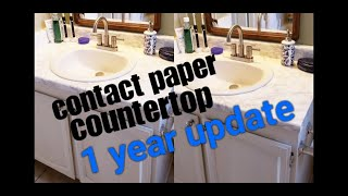 **ONE YEAR UPDATE** DIY Marble Contact Paper Over Formica Bathroom Countertop