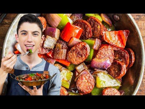 QUICK SAUSAGE & PEPPERS – FOUR INGREDIENTS DINNER RECIPE | Eitan Bernath